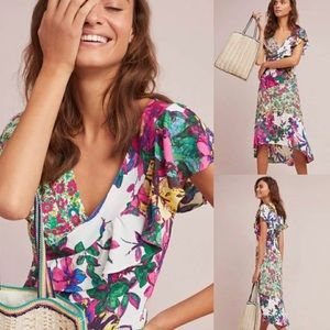 TRACY REESE ANTHROPOLOGIE Ennis Dress Mixed Print